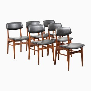 Danish Leatherette and Teak Dining Chairs, 1960s, Set of 6