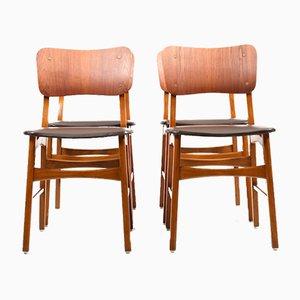 Dänische Esszimmerstühle aus Buche & Teak, 1950er, 4er Set