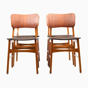 Danish Beech and Teak Dining Chairs, 1950s, Set of 4
