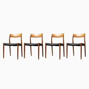 Dänische Modell 77 Esszimmerstühle aus Teak von Niels Otto Møller für J.L. Møllers, 1970er, 4er Set