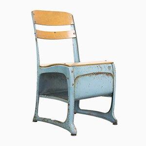 Sedie da bambino industriali in metallo, compensato e legno, anni '50, set di 2