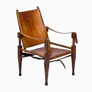 Leather and Oak Safari Chair by Wilhelm Kienzle for Wohnbedarf, 1950s