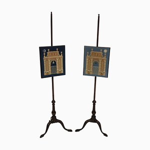 English Night & Day Fire Pole Screens, 1890s, Set of 2
