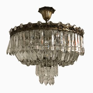 Art Deco Italian Bronze & Lead Crystal Flush Mount, 1930s