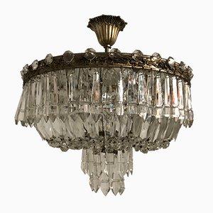 Italienische Art Deco Einbaulampe aus Bronze & Bleikristall, 1930er
