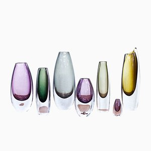Sommerso Glass Vases by Gunnar Nylund for Strömbergshyttan, 1950s, Set of 7