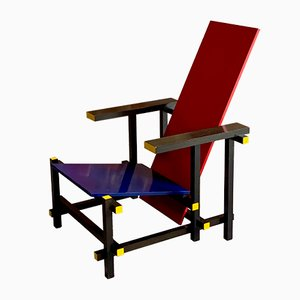 Italian Red & Blue Lounge Chair by Gerrit Rietveld for Cassina, 1970s