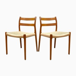 Model 84 Dining Chairs by Niels O. Moller for Møller Mobelfabrik, 1950s, Set of 4