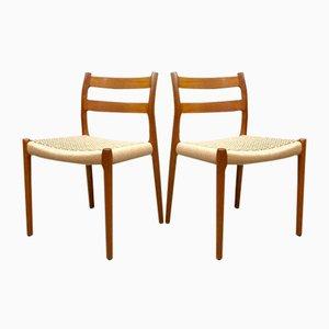 Modell 84 Esszimmerstühle von Niels O. Moller für Møller Mobelfabrik, 1950er, 4er Set