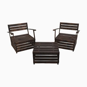 Tavolo Ortofrutta in alluminio con due sedie di Andrea Salvetti, Italia, inizio XXI secolo