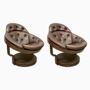 Space Age Leather and Wood Lounge Chairs, 1960s, Set of 2