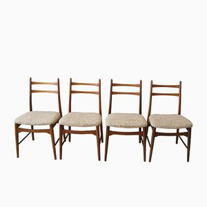 Mid-Century Teak & Tweed Dining Chairs, 1960s, Set of 4
