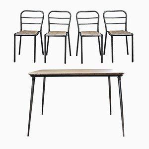 Juego de mesa de comedor y cuatro sillas industrial francés de metal y roble, años 40