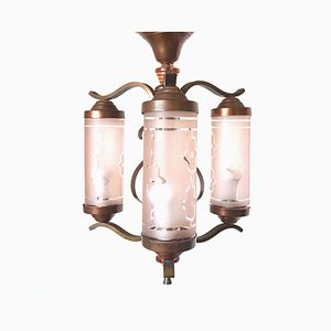Lampe à Suspension en Laiton avec Cylindres en Verre, 1900s