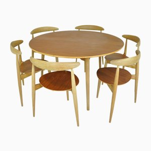 Scandinavian Heart Dining Set by Hans J. Wegner for Fritz Hansen, 1950s