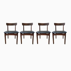 Moderne skandinavische Beistellstühle aus Kunstleder & Teak, 1960er, 4er Set