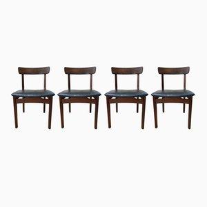 Sedie moderne in similpelle e teak, Scandinavia, anni '60, set di 4