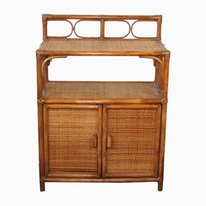 Vintage French Rattan and Bamboo Cabinet, 1970s