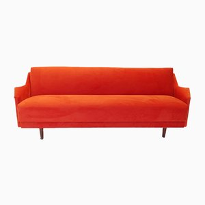 Mid-Century Danish Paprika Velvet Sofa Bed