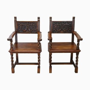 Antique Carved Walnut Throne Chairs, 1880s, Set of 2