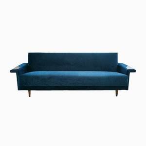 Mid-Century Danish Teal Velvet Sofa Bed, 1960s