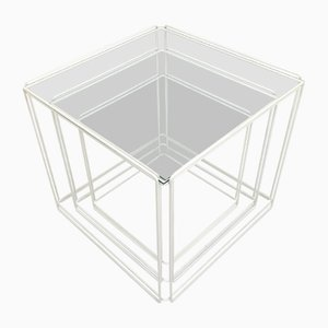 Minimalist French Glass and Steel Isocele Nesting Tables by Max Sauze, 1970s