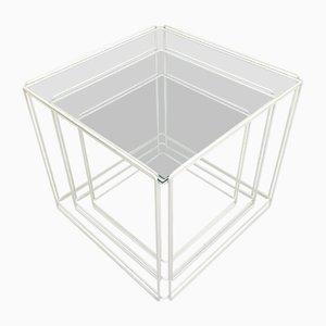 Minimalistische französische Isocele Satztische aus Glas & Stahl von Max Sauze, 1970er