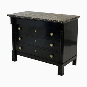 Antique French Mahogany & Marble Chest of Drawers, 1860s
