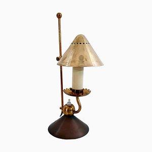 Lámpara de mesa italiana Mid-Century de latón de Stilnovo, años 50