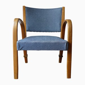 Französischer Mid-Century Sessel mit Gestell aus Eschenholz von Hugues Steiner für Steiner, 1960er