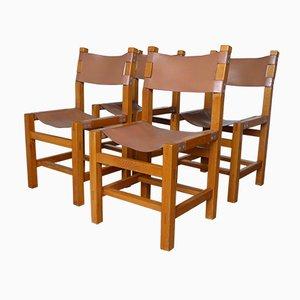 Französische Esszimmerstühle aus Leder & Ulmenholz von Maison Regain, 1960er, 4er Set