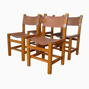 French Leather & Elm Dining Chairs from Maison Regain, 1960s, Set of 4