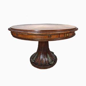Tavolo da pranzo vintage in stile Impero in bronzo e mogano, Italia, anni '20