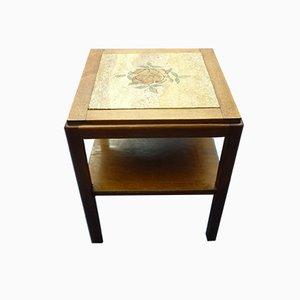 Tavolino Art Déco vintage in quercia, pietra e legno