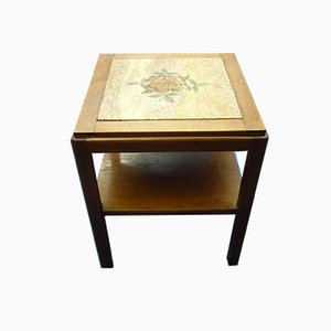Vintage Art Deco Oak, Stone, and Wood Side Table