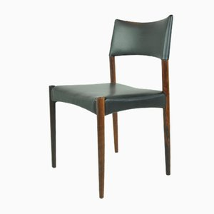 Scandinavian Rosewood & Aniline Leather Dining Chairs by Ejnar Larsen & Aksel Bender for Willy Beck, 1950s, Set of 8