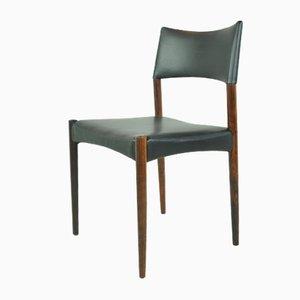 Skandinavische Esszimmerstühle aus Palisander & Anilinleder von Ejnar Larsen & Aksel Bender für Willy Beck, 1950er, 8er Set