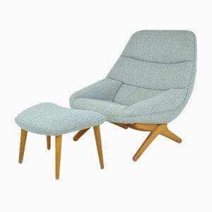 Juego de sillón y otomana ML91 escandinavo de roble de Illum Wikkelsø, años 60