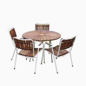 Juego de mesa y sillas de jardín escandinavo moderno Mid-Century de teca de Daneline