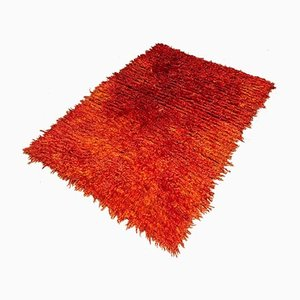 Turkish Hand Knotted Orange Wool Rug, 1980s