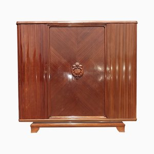 Art Deco French Mahogany Wardrobe by Gaston Poisson, 1930s