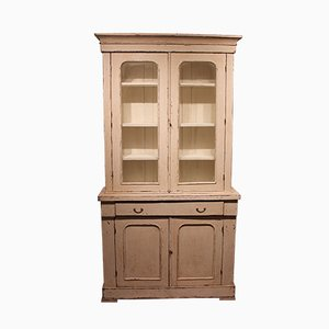 Large Antique Gustavian Wood & Glass Cabinet