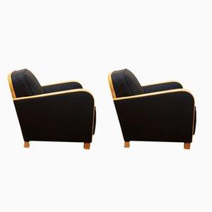 Art Deco Vintage Sessel mit Gestell aus Eschenholz, 1930er, 2er Set
