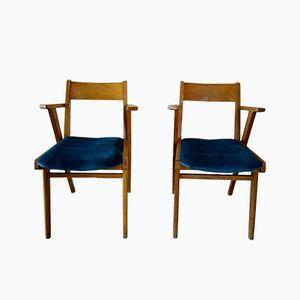 Mid-Century Esszimmerstühle aus Buchenholz, 1950er, 2er Set