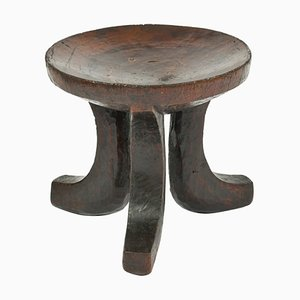 African Carved Wood Tripod Stool, 1950s