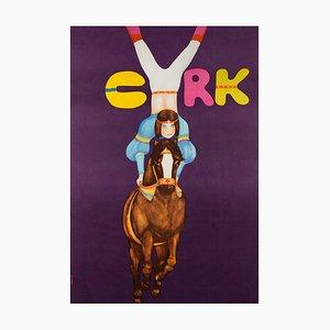 Poster vintage del circo di Maciej Urbaniec, Polonia, 1982