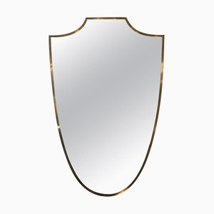 Italian Brass Shield Mirror, 1950s
