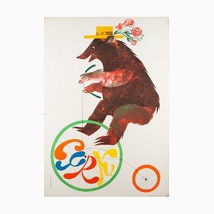 Poster vintage del circo di Jerzy Srokowski, Polonia, anni '70