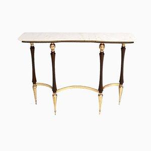 Table Console en Laiton, Bois et Marbre de Carrare, Italie, 1950s