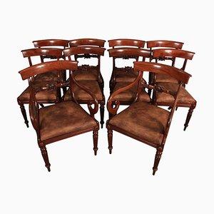 Sedie da pranzo Regency in mogano e pelle, inizio XIX secolo, set di 10